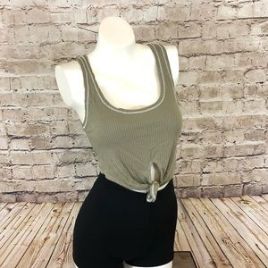 NWT Olive green tie from crop top size small